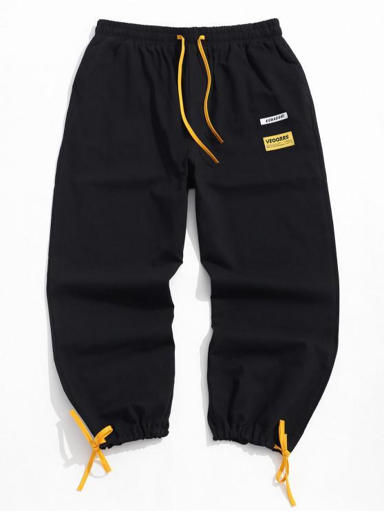women's Letter Print Color Spliced Casual Pants - BLACK XL
