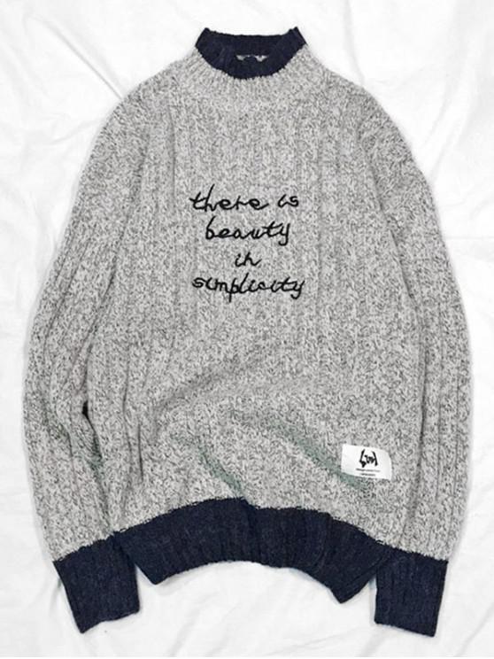 fancy Colorblock Spliced Letter Graphic Mock Neck Sweater - GRAY M