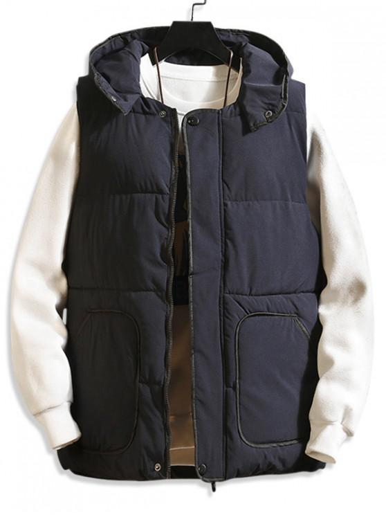 buy Contrast Trim Hooded Quilted Waistcoat - BLUE M