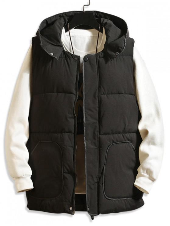 shop Contrast Trim Hooded Quilted Waistcoat - BLACK M