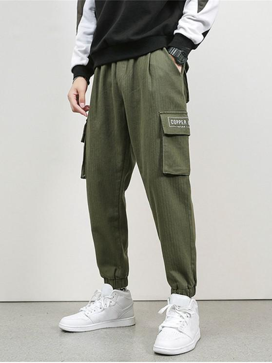 chic Letter Embroidery Flap Pocket Cargo Jogger Pants - ARMY GREEN XS