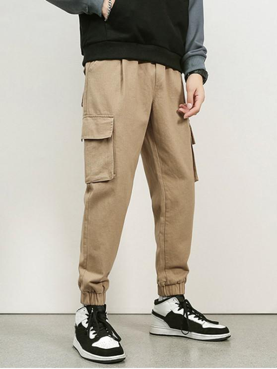 fancy Letter Embroidery Flap Pocket Cargo Jogger Pants - KHAKI M