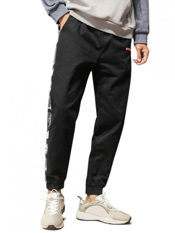 fashion Camouflage Splicing Drawstring Cargo Jogger Pants - BLACK S