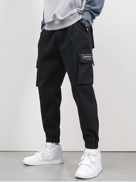 online Letter Embroidery Flap Pocket Cargo Jogger Pants - BLACK S