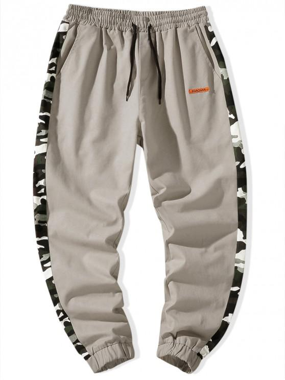 shop Camouflage Splicing Drawstring Cargo Jogger Pants - KHAKI S