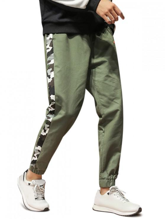 ladies Camouflage Splicing Drawstring Cargo Jogger Pants - ARMY GREEN XL