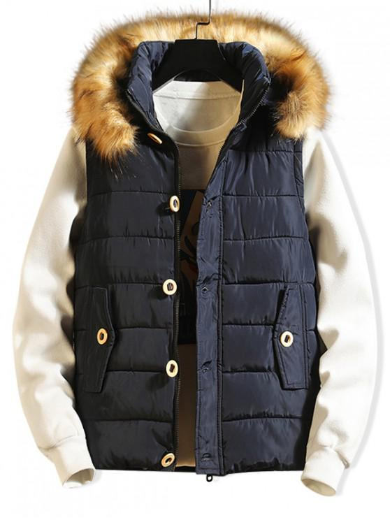 womens Button Design Casual Faux Fur Hood Quilted Waistcoat - BLUE S