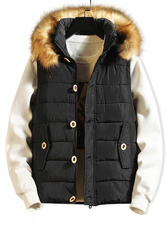 ladies Button Design Casual Faux Fur Hood Quilted Waistcoat - BLACK S