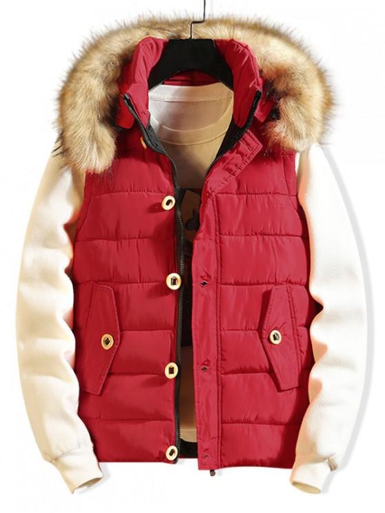 outfits Button Design Casual Faux Fur Hood Quilted Waistcoat - RED XS