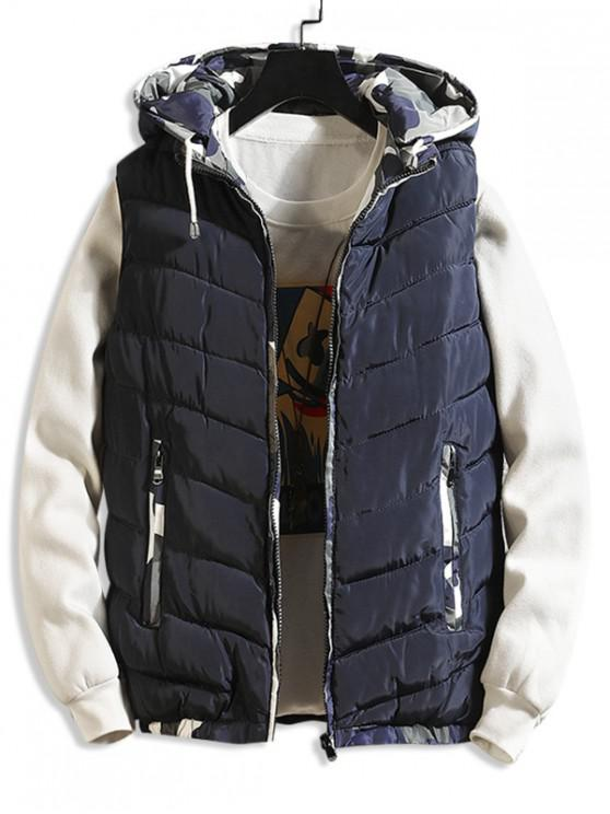 sale Camouflage Spliced Hooded Quilted Waistcoat - BLUE S