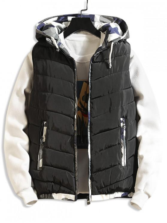 womens Camouflage Spliced Hooded Quilted Waistcoat - BLACK M