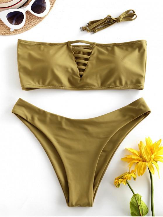 ZAFUL barete Ladder Colaj bandeau Bikini Costume de baie - Cookie Brown L