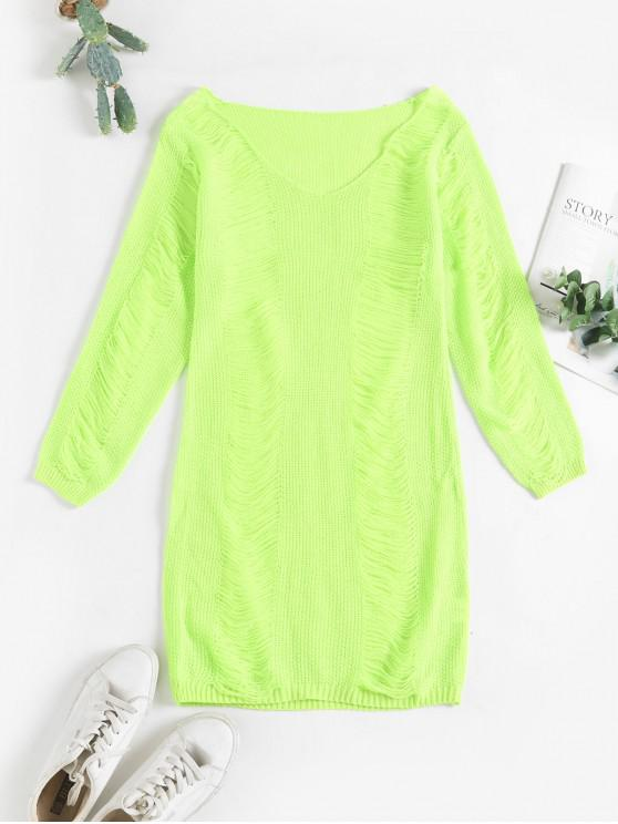 hot Ripped V Neck Bodycon Sweater Dress - GREEN S