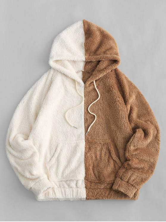 womens Front Pocket Two Tone Fluffy Drawstring Hoodie - BROWN XL
