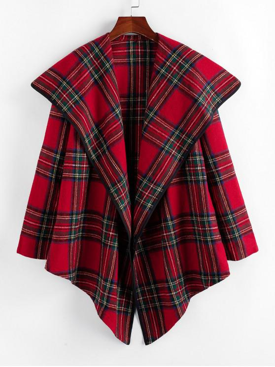 women ZAFUL Wool Blend Plaid Coat - CHERRY RED L