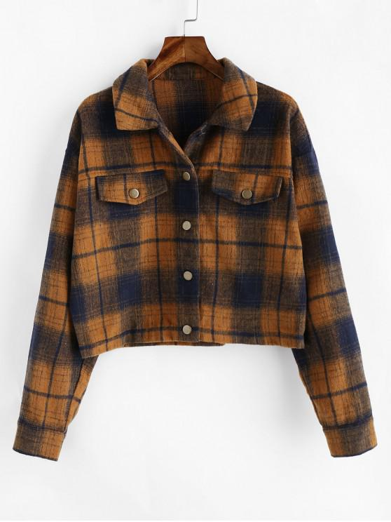 chic ZAFUL Plaid Drop Shoulder Button Up Shirt Jacket - BROWN M