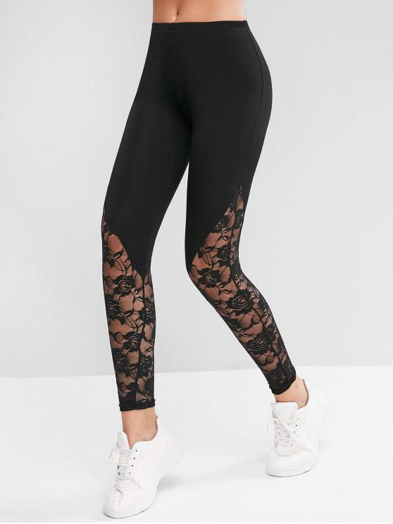 womens Lace Panel High Waist Track Leggings - BLACK S