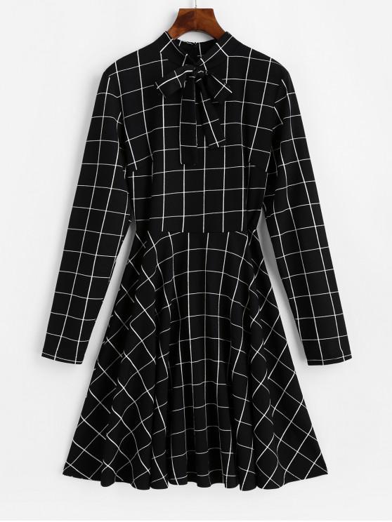 fashion ZAFUL Long Sleeve Bow Tie Checked Mini Dress - BLACK L