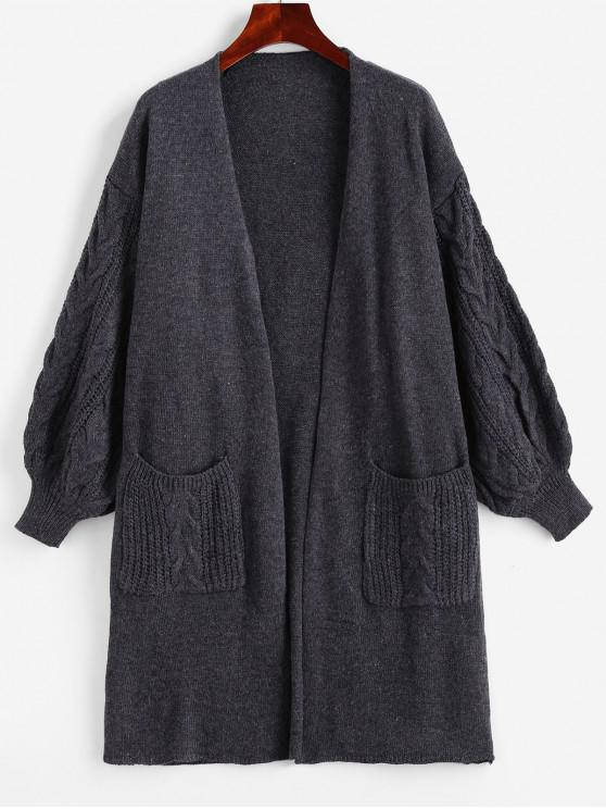 online Open Placket Dual Pocket Cable Knit Cardigan - GRAY ONE SIZE