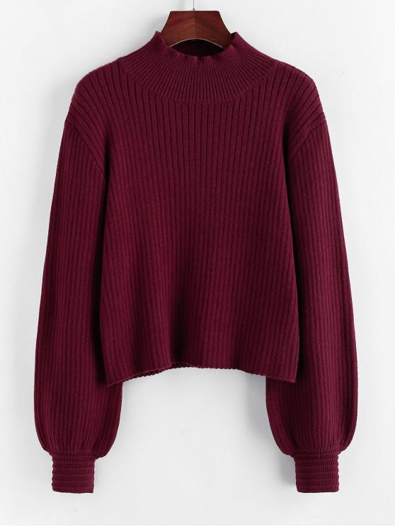 best ZAFUL Mock Neck Lantern Sleeve Drop Shoulder Sweater - RED WINE S