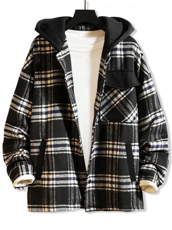 affordable Plaid Flap Pocket Spliced Hooded Jacket - BLACK M