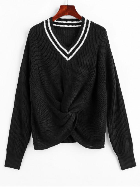 best V Neck Preppy Stripes Twist Front Sweater - BLACK S