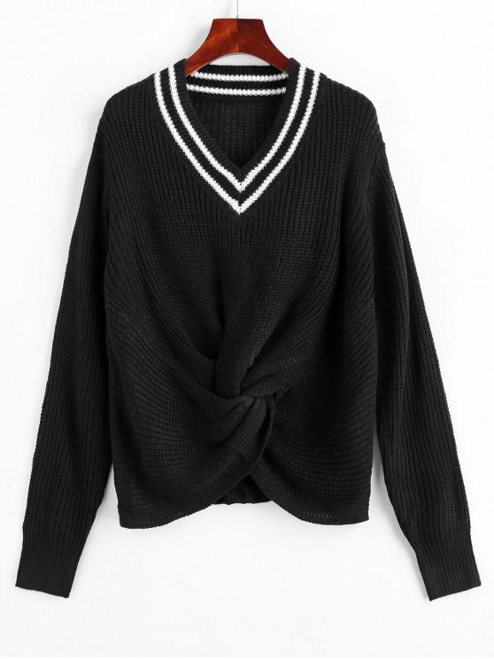 V Neck Preppy Stripes Twist Front Sweater - Negru L