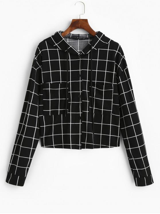 hot ZAFUL Button Up Drawstring Checked Pockets Jacket - BLACK XL