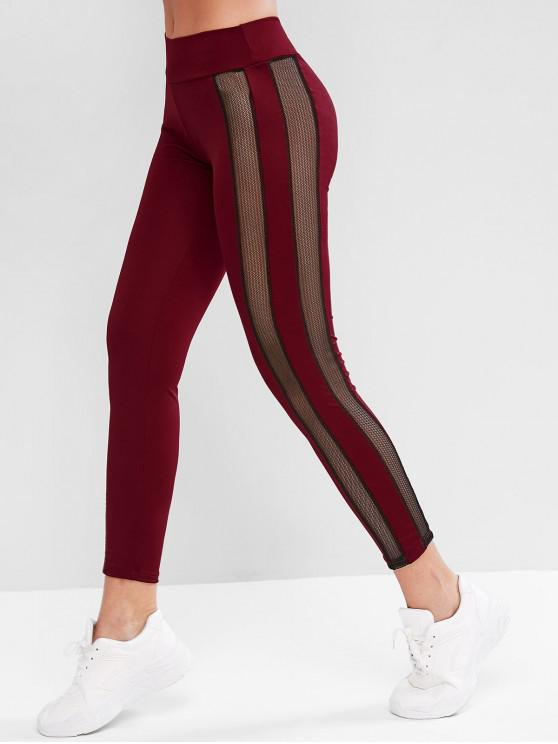 trendy Fishnet Panel High Waist Sports Leggings - RED WINE S