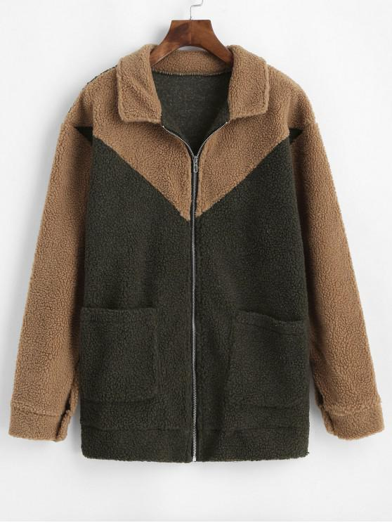 womens Two Tone Fluffy Pocket Zip Teddy Coat - MULTI M