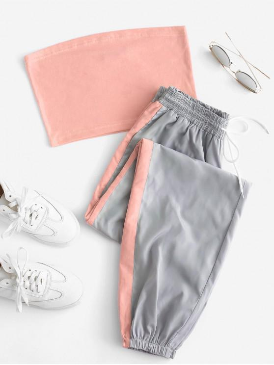chic Bandeau Top and Contrast Jogger Pants Set - MULTI-B XL