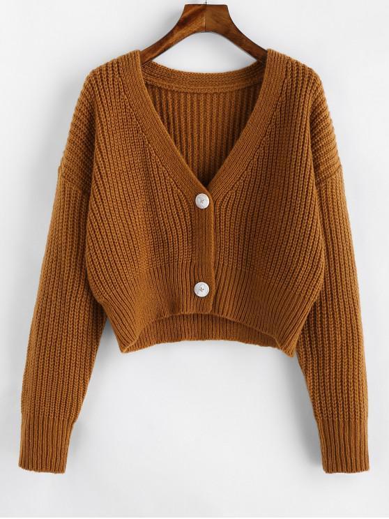 shops ZAFUL Drop Shoulder Button Up Crop Cardigan - DARK GOLDENROD L