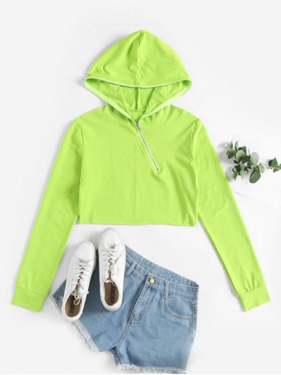 hot Half Zip Plain Crop Hoodie - GREEN L