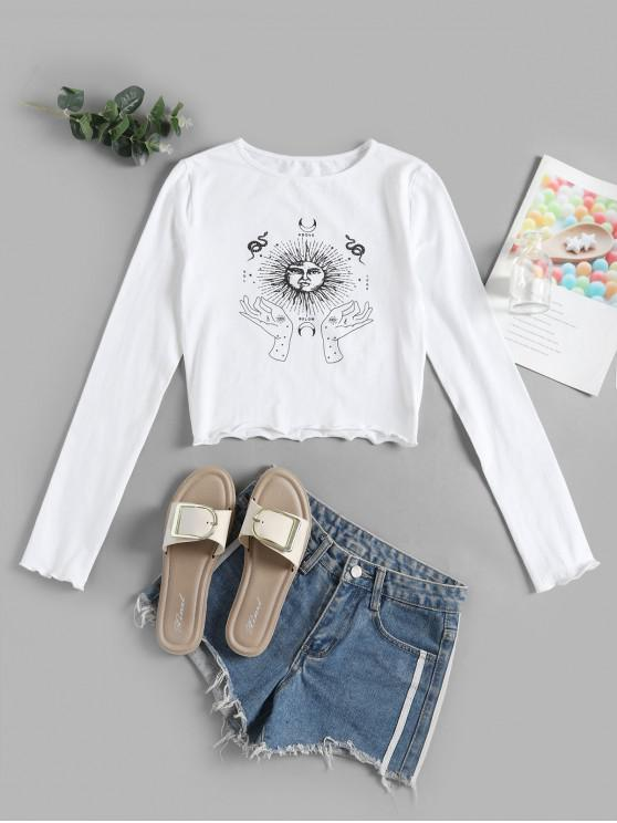 shops Sun and Moon Hands Lettuce Trim Crop Tee - WHITE L