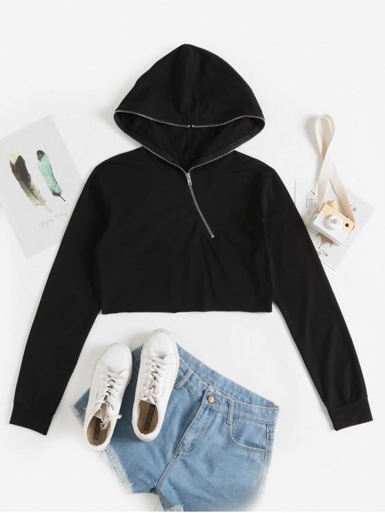 fancy Half Zip Plain Crop Hoodie - BLACK S