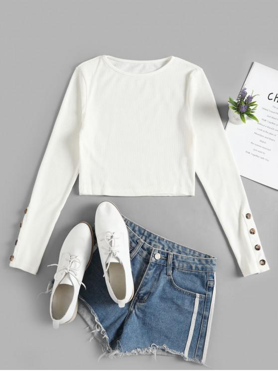 chic Mock Button Solid Crop Tee - WHITE L