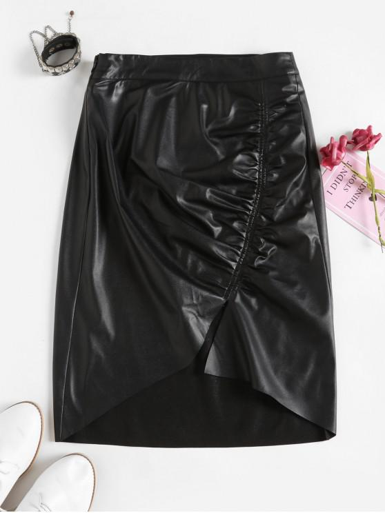 outfit ZAFUL Gathered Front PU Leather Asymmetrical Skirt - BLACK L