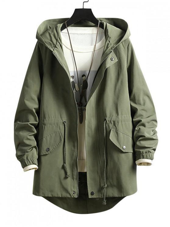 women's High Low Back Split Solid Hooded Coat - ARMY GREEN L