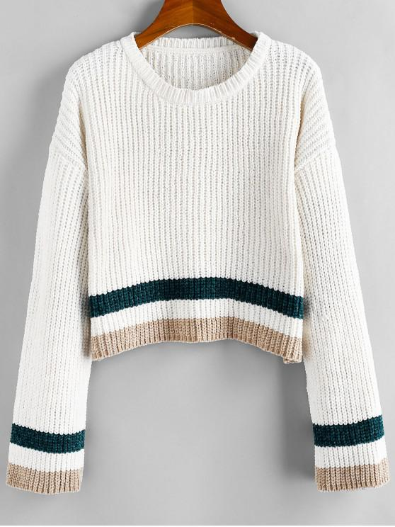 women's ZAFUL Striped Chenille Drop Shoulder Jumper Sweater - WARM WHITE L