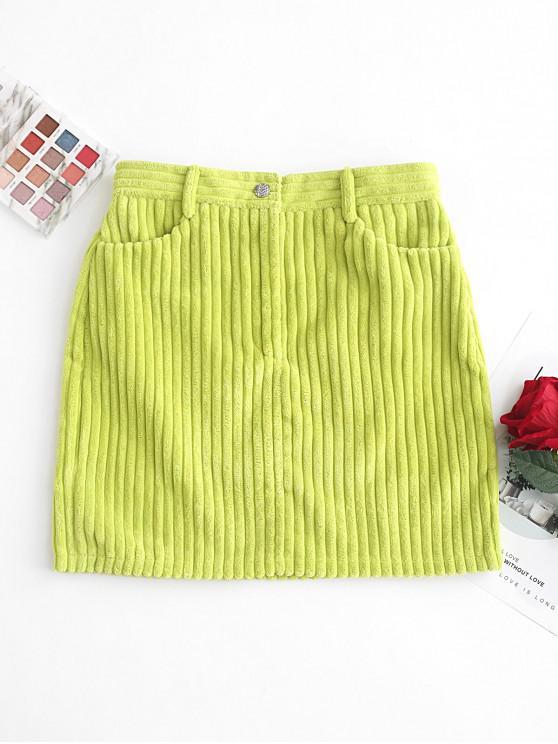 women's Neon Lime Velvet Pockets Mini Skirt - TEA GREEN S