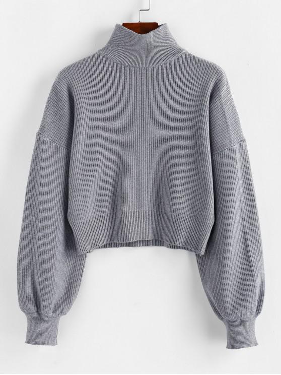 outfit ZAFUL High Neck Drop Shoulder Plain Sweater - LIGHT SLATE GRAY M