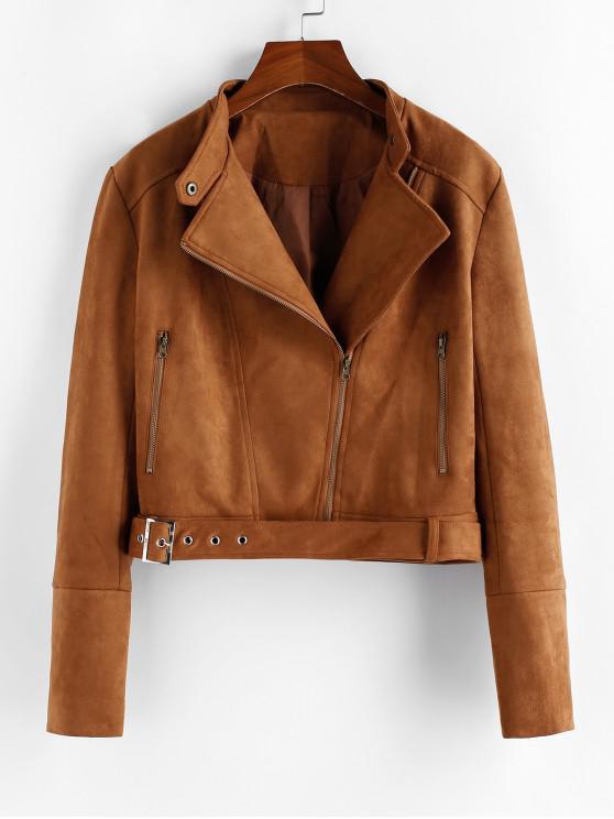 trendy ZAFUL Faux Suede Inclined Zipper Belted Jacket - WOOD S