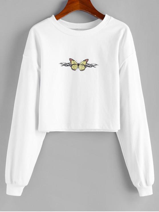 chic ZAFUL Butterfly Print Cropped Sweatshirt - WHITE S