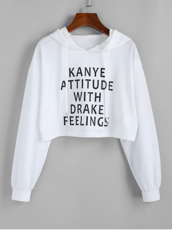 women's ZAFUL Feelings Graphic Cropped Hoodie - WHITE M