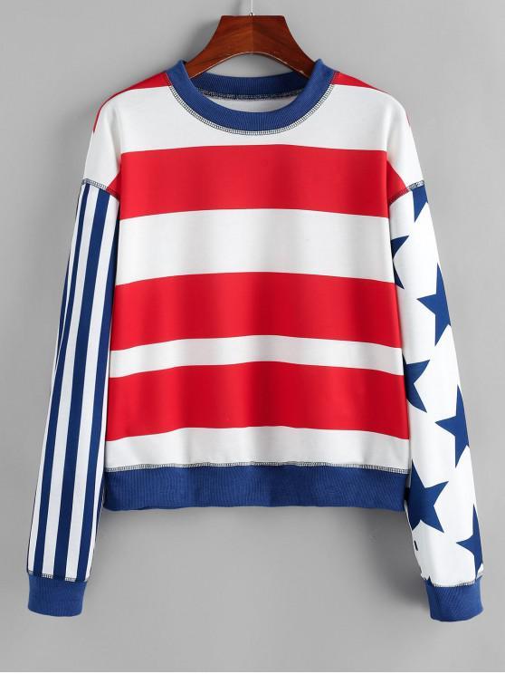 ZAFUL Патриотический принт американского флага Плечо падения Толстовка - Многоцветный-A S