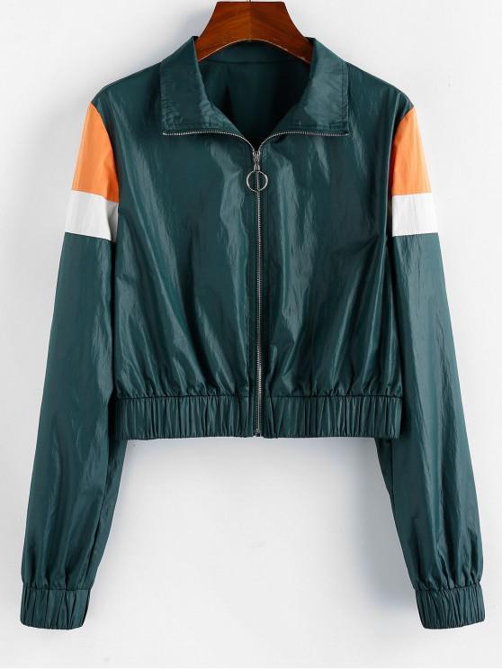 new Zipper Splicing Crop Jacket - FERN GREEN XL