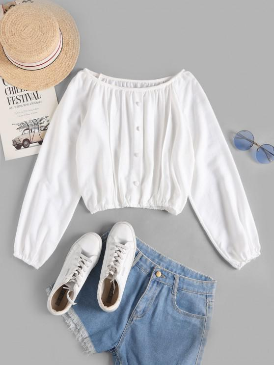 outfit Covered Button Raglan Sleeve Short Top - WHITE ONE SIZE