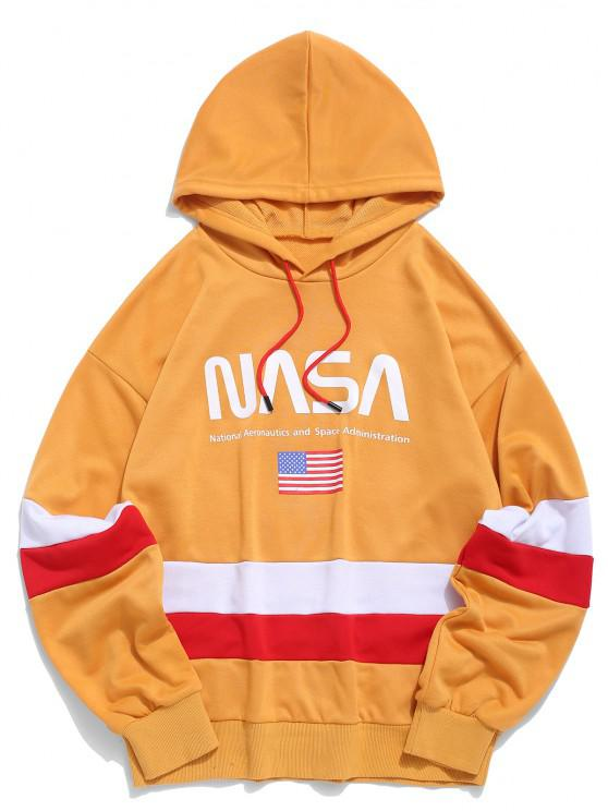 womens ZAFUL American Flag Color Blocking Letter Print Hoodie - GOLDEN BROWN L