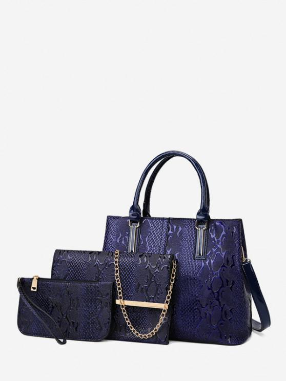 3 peça Embossed Retro PU bolsa de couro Set - Azul Escuro
