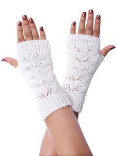 Hollow Braid Fingerless Knitted Gloves - White